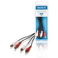 Câble rallonge audio stéréo 2x RCA mâles vers 2x RCA femelles 2,00 m noir