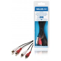 Câble rallonge audio stéréo 2x RCA mâles vers 2x RCA femelles 3,00 m noir