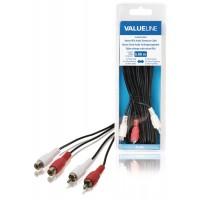 Câble rallonge audio stéréo 2x RCA mâles vers 2x RCA femelles 5,00 m noir