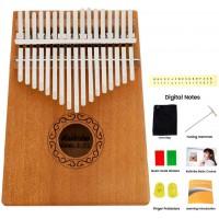 Piano à pouce 17 touches en acajou de haute qualité professionnel instrument avec étui portable et protection du pouce pour les