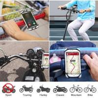Support Vélo du Guidon, Universel Support Téléphone Vélo Réglable Silicone Compatible avec iPhone 12 Mini/12/11 Pro Max/XS/XR/8,