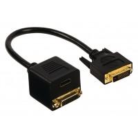 Câble adaptateur DVI à connecteur DVI-D 24+1 broches mâle vers DVI-D 24+1 broches femelle + entrée HDMI™ 0.20 m noir