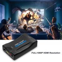 HDMI vers Scart Adaptateur, conversion du signal vidéo et audio HDMI numérique 1080P en signal CVBS péritel analogique, prise en