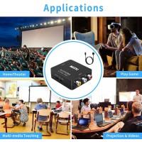 Convertisseur RCA vers HDMI, de convertisseur audio vidéo AV vers HDMI Mini RCA composite 1080P Compatible avec N64 Wii PS2 pren