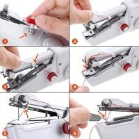 Mini Machine à Coudre Portable,DIY Outil de Point,Kit de Main Couture Portative pour Vêtement (Blanc)