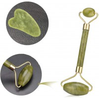 Rouleau de Jade et Gua Sha outils de Massage Set, Anti-âge pour le visage Pierre de Jade Rouleau Naturelle Rouleau Pierre de Ja