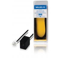 Câble rallonge de télécommunication à connecteur RJ11 mâle vers RJ11 femelle 5,00 m noir