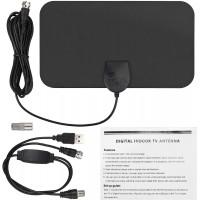 Antenne HDTV Intérieure 1080P 50 Miles Ultra-Mince Portable, Amplificateur Jusqu'à 30 DB, Prend en Charge VHF/UHF