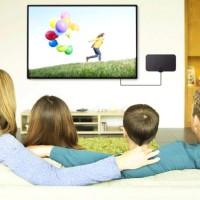 Antenne TV intérieure 1080p à gain élevé, 20 dBi, antenne TV numérique ultra fine HDTV Mini DVB-T2 avec câble de 3,7 m de long