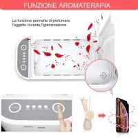 UV Stérilisateur de téléphone,3-in-1 Boîte De Désinfection UV,Multifonctionnel Chargeur sans Fil Désinfecteur Portable avec Arom