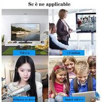 Webcam 1080P, Full HD 1080P 60fpsWebcam USB Streaming avec Grand Angle, Caméra Web pour Chat Vidéo et Enregistrement, Compatible