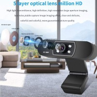 Full HD Video Webcam 1080p HD Camera USB Webcam Focus Night Vision Computer Web Camera with Built-in Microphone