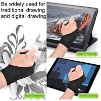 Lot de 2 Gants de Dessin pour Tablette Graphique Gant Artiste Anti-fouling Tissu Élastiques Gants à Deux Doigts pour Droitier Ga