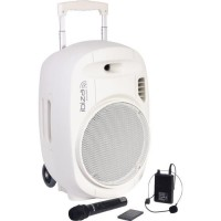"IBIZA - PORT12UHF-WH-MKII - Systeme enceinte de sonorisation portable autonome 12""/30CM avec USB, Bluetooth et 2 micros UHF - Bl"