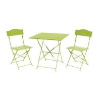 Set bistrot 2 personnes - Table 70x70 cm + 2 chaises - Acier thermolaqué - Vert - HIENO