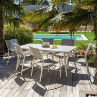 Ensemble repas de jardin 6 personnes effet pierre grise - table 180 cm + 1 lot de 6 fauteuils - RIMINI
