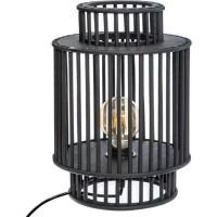 Lampe en bambou - E27 - 40 W - H. 35 cm - Noir