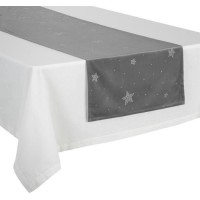 FEERIC LIGHTS & CHRISTMAS Chemin de table en velours - 40 cm x 2 m - Argent