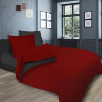 SOLEIL d'OCRE Parure de lit bicolore - Coton lavé - 240 x 290 cm - Rouge et gris anthracite