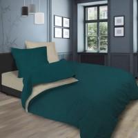 SOLEIL d'OCRE Parure de lit bicolore - Coton lavé - 240 x 290 cm - Bleu canard et écru