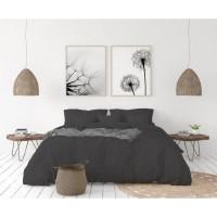LOVELY HOME Parure de couette en 100% lin 220x300 cm + 1 drap housse 140 x 190 cm + 2 taies 65x65cm - Coloris Gris anthracite