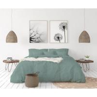 LOVELY HOME Parure de couette en 100% lin 220x300 cm + 1 drap housse 140 x 190 cm + 2 taies 65x65cm - Coloris Bleu céladon