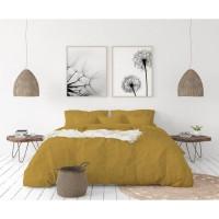 LOVELY HOME Parure de couette en 100% lin 220x300 cm + 1 drap housse 140 x 190 cm + 2 taies 65x65cm - Coloris Jaune curry