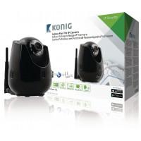 Caméra IP de télésurveillance d'intérieur de couleur noire avec fonction panoramique et d'inclinaison