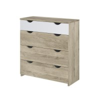 Commode 4 tiroirs - Décor chene et blanc - L 83,3 x P 34,6 x H 88,5 cm - AUSTIN