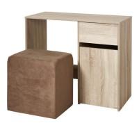 Bureau bois MDF 1 tiroir 1 porte + 1 pouf tissu Taupe - L 90 x P 40 x H 75 cm - ALICE