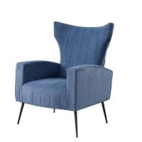 VOLKER Fauteuil Pieds Métal - Tissu Bleu - L 73 x P 88 x H 102 cm