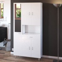 Colonne de salle de bain 5 portes 1 tiroir - Blanc mat - L 88,8 x P 29 x H 177 cm - ARMANDO