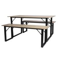 MARK Set Table et 2 tabourets - Imitation bois - L 150 x P 80 x H 75 cm