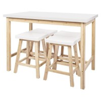 CORA Ensemble Table a manger + 4 Tabourets - Laqué blanc et pieds en bambou - L 120 x P 70 x H 90.5 cm + L 38 x P 30 x H 60 cm