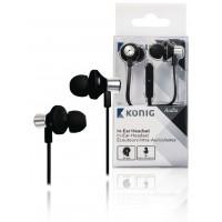 Écouteurs intra-auriculaires noirs inclinés à câble plat, 13mm