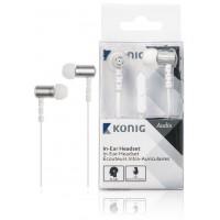 Écouteurs intra-auriculaires blancs à câble plat, 13 mm