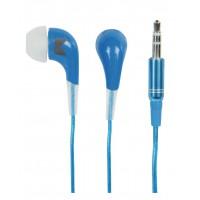 Ecouteurs intra-auriculaires bleus.