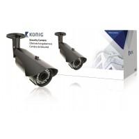 Caméra de sécurité noire avec lentille varifocale