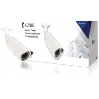 Caméra de sécurité blanche avec lentille varifocale