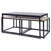 MINSK Set de 3 Tables gigognes - Imitation bois - L 90 x P 60 x H 43 cm