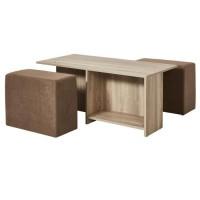 Ensemble table basse bois MDF Décor Naturel + 2 poufs tissu Taupe - L 100 x P 60 x H 41,8 cm - ALICE