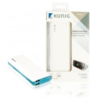 Batterie portable 11000mAh, 1x 5V, 2,1A + 1x 5V, 1A, bleue