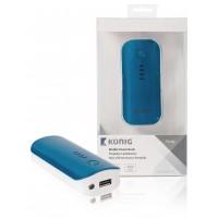 Batterie portable 4400mAh, 5V, 1A, bleu