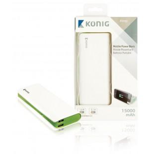 Batterie portable 15000mAh, 1x 5V, 2,1A + 1x 5V, 1A, verte