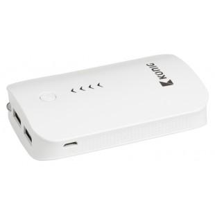 Batterie portable 7800mAh, 1x 5V, 2,1A + 1x 5V, 1A, blanche