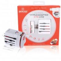 Adaptateur de voyage universel blanc 2 pôles avec chargeur USB double