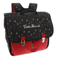 LITTLE MARCEL - CARTABLE 2 COMPART+2 POCHES ZIPPEES 38X14X34 POLYESTER HIRONDELLES DOUBLURE POLYESTER LITTLE MARCEL
