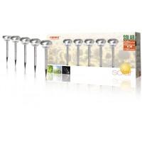 Lot de 5 bornes LED solaires avec piquet IP44 acier brossé