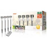4 bornes de jardin LED solaires avec piquet et télécommande - IP44