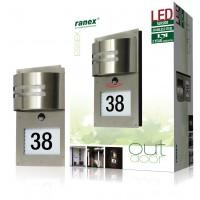Éclairage extérieur à double capteur, avec numéro de maison